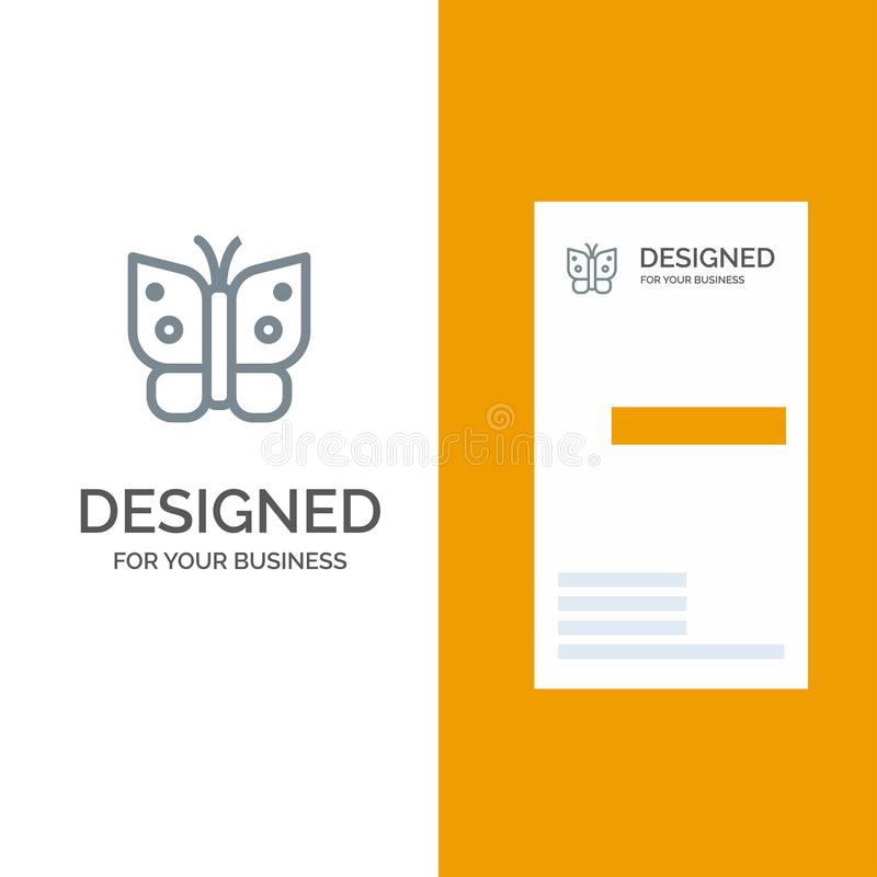 Butterfly, Freedom, Insect, Wings Grey Logo Design and Business Card Template royalty free illustration