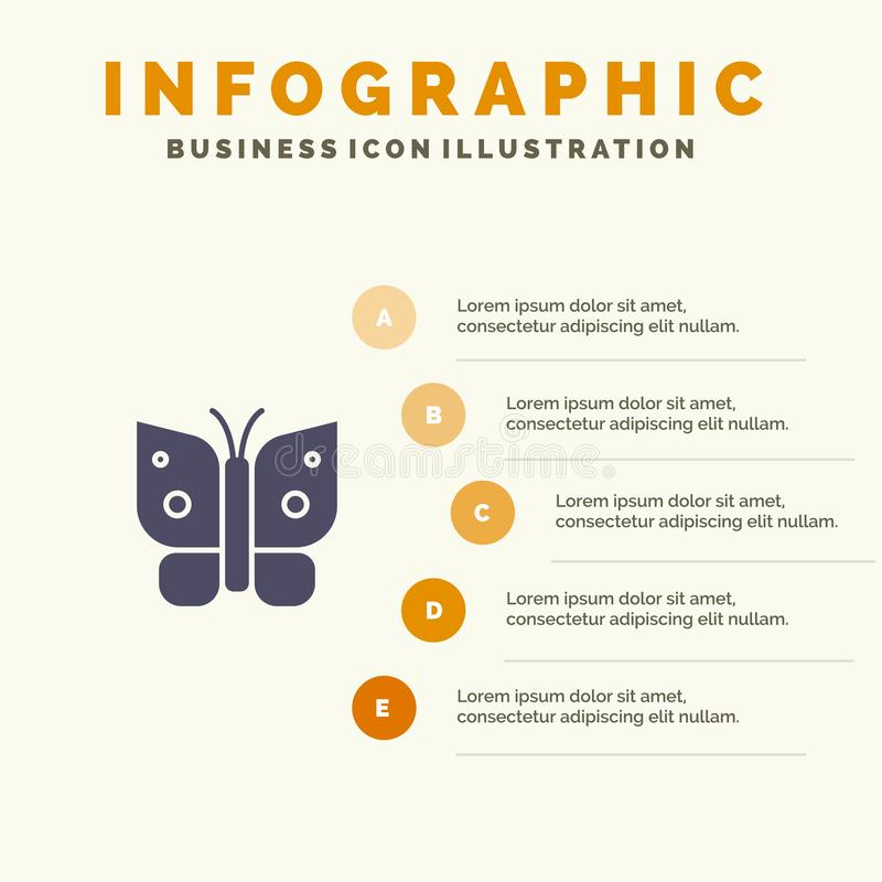 Butterfly, Freedom, Insect, Wings Infographics Presentation Template. 5 Steps Presentation royalty free illustration