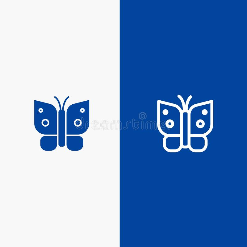 Butterfly, Freedom, Insect, Wings Line and Glyph Solid icon Blue banner stock illustration