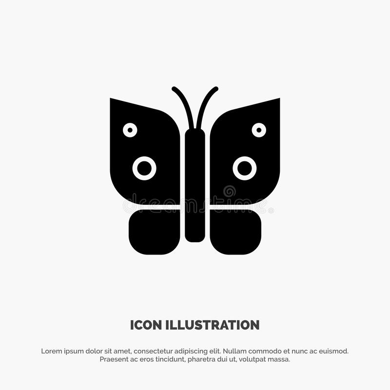 Butterfly, Freedom, Insect, Wings Solid Black Glyph Icon vector illustration