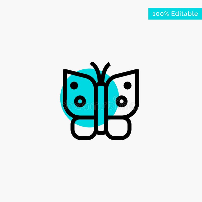 Butterfly, Freedom, Insect, Wings turquoise highlight circle point Vector icon royalty free illustration