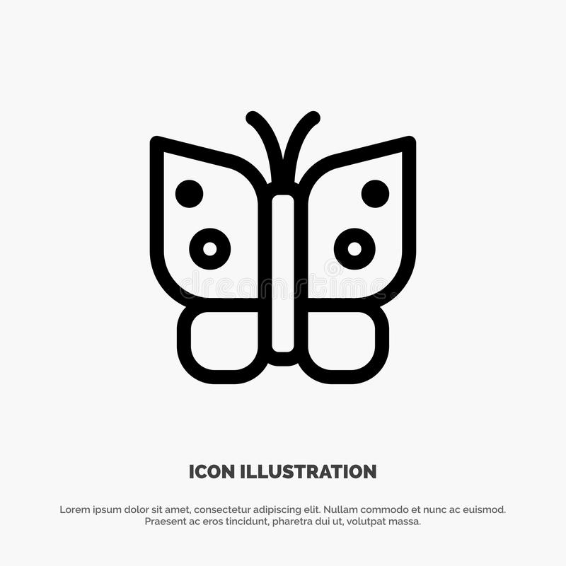 Butterfly, Freedom, Insect, Wings Vector Line Icon royalty free illustration