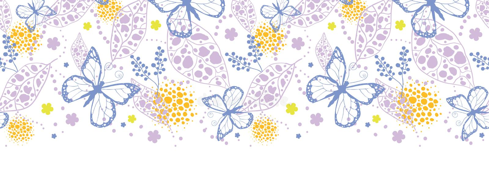 Butterfly garden horizontal seamless pattern royalty free illustration