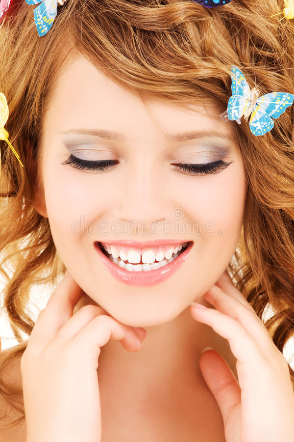 Download Butterfly girl stock photo. Image of lovely, care, lady - 10489008