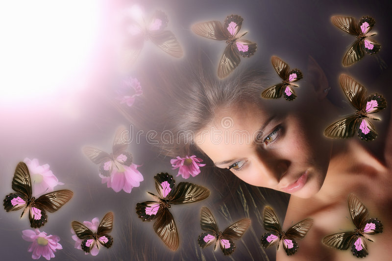 Butterfly girl royalty free stock photo