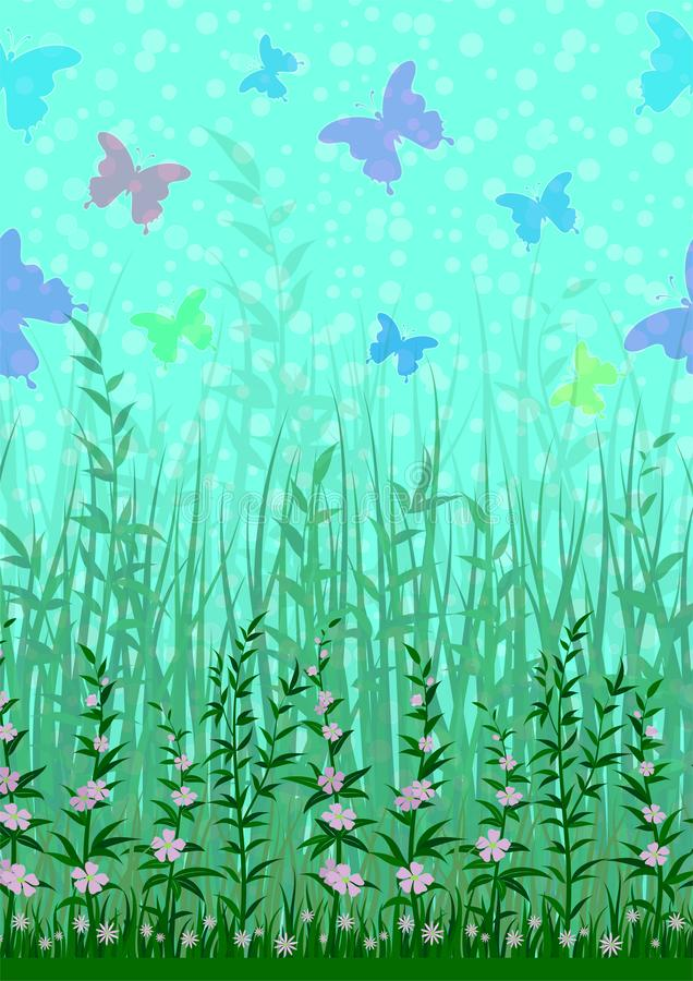 Butterfly, Grass and Flowers royalty free illustration
