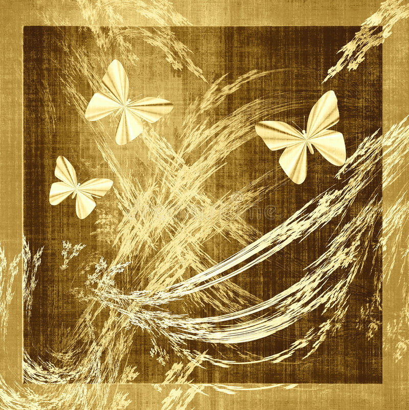 Butterfly Grunge Canvas Fabric. Textured fabric grunge in golden brown earth tones with flying butterflies and wispy silhouetted leaves royalty free illustration