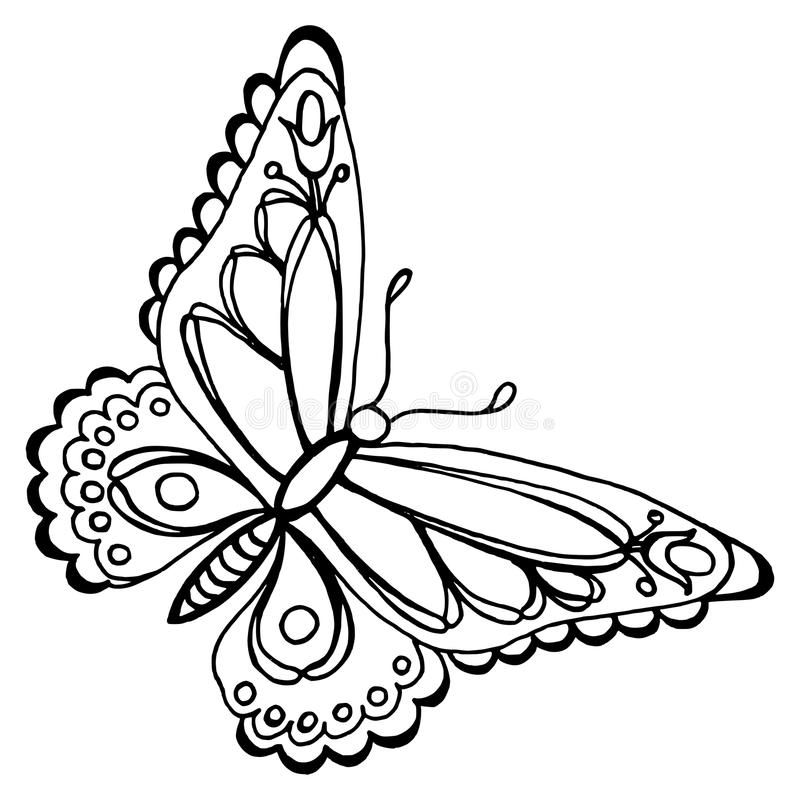 Butterfly. Hand drawn, , black illustration in Ukrainian folk style vector illustration