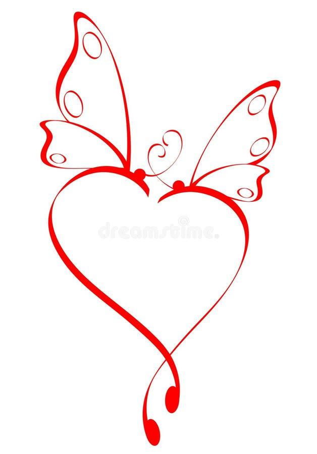 Butterfly heart. Red stylized butterfly heart on white
