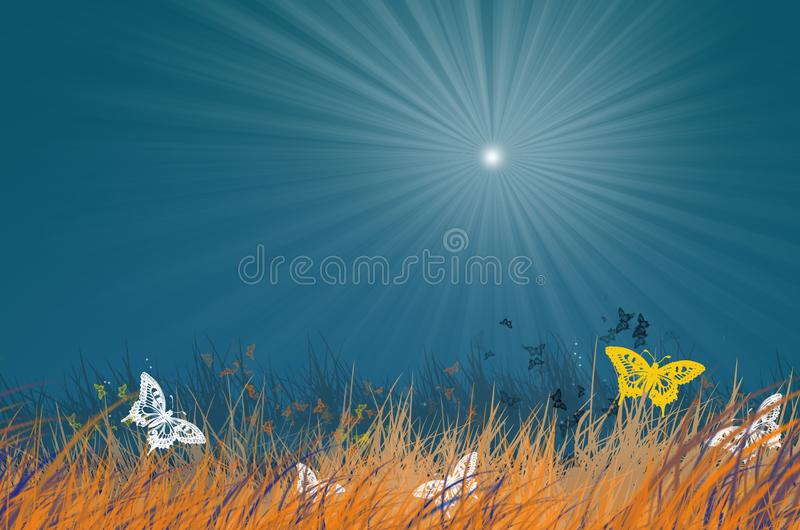 Butterfly herd and grass under sunlight in blue sky royalty free illustration