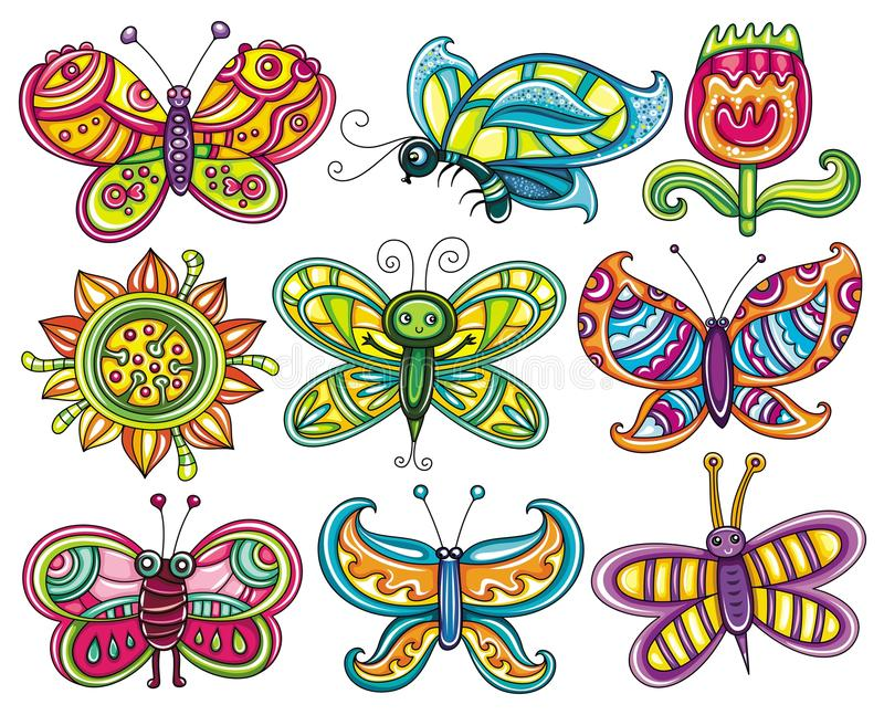 Butterfly icon set. stock illustration