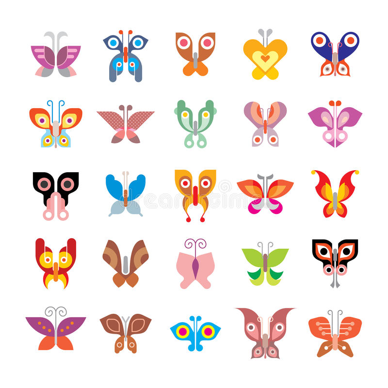 Butterfly icon set vector illustration