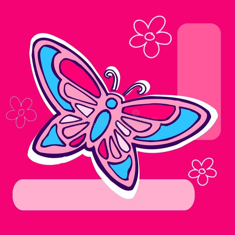 Butterfly Illustration on pink royalty free illustration