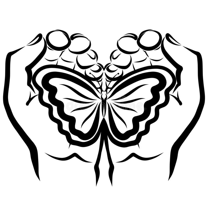 Free Butterfly In The Hands Of Man, A Handful In The Shape Of A Heart Stock Photos - 163411223