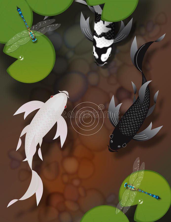 Butterfly koi fish swimming in pond with dragonflies and lily pads. Stylized butterfly koi fish swimming in a pond with lily pads and dragonflies royalty free illustration