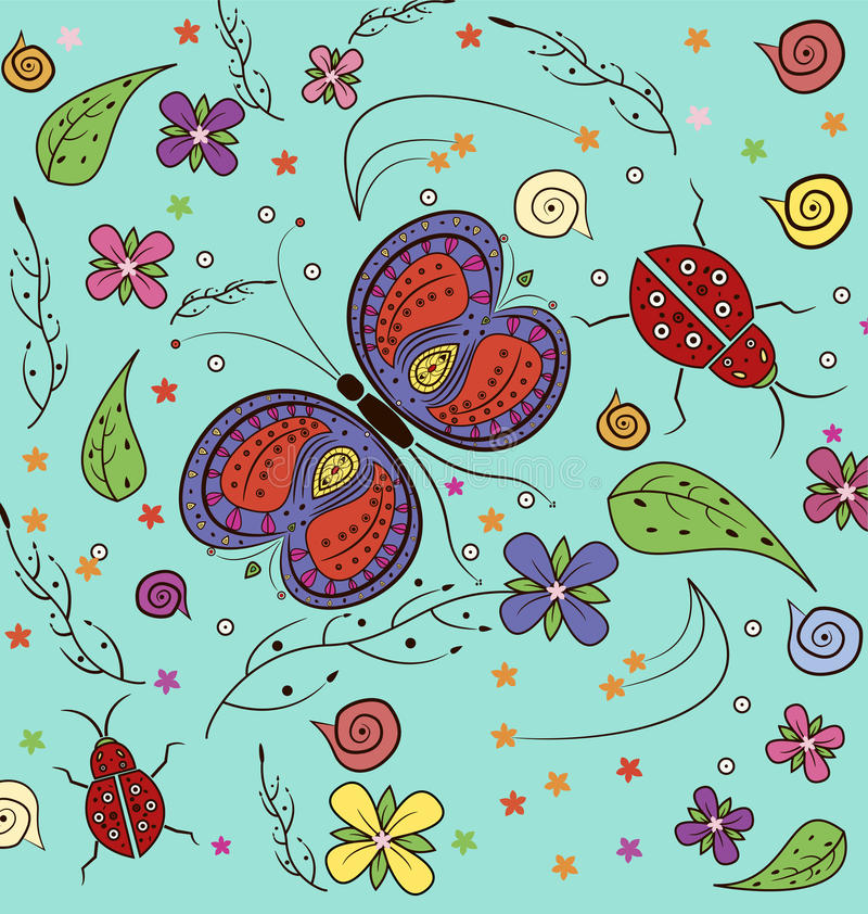 Butterfly and lady bug Pattern vector illustration