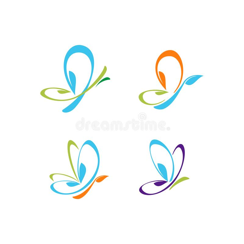 Butterfly Leaf colorful vector logo. Modern Butterfly Leaf colorful vector set Illustration with modern look for company logo stock illustration