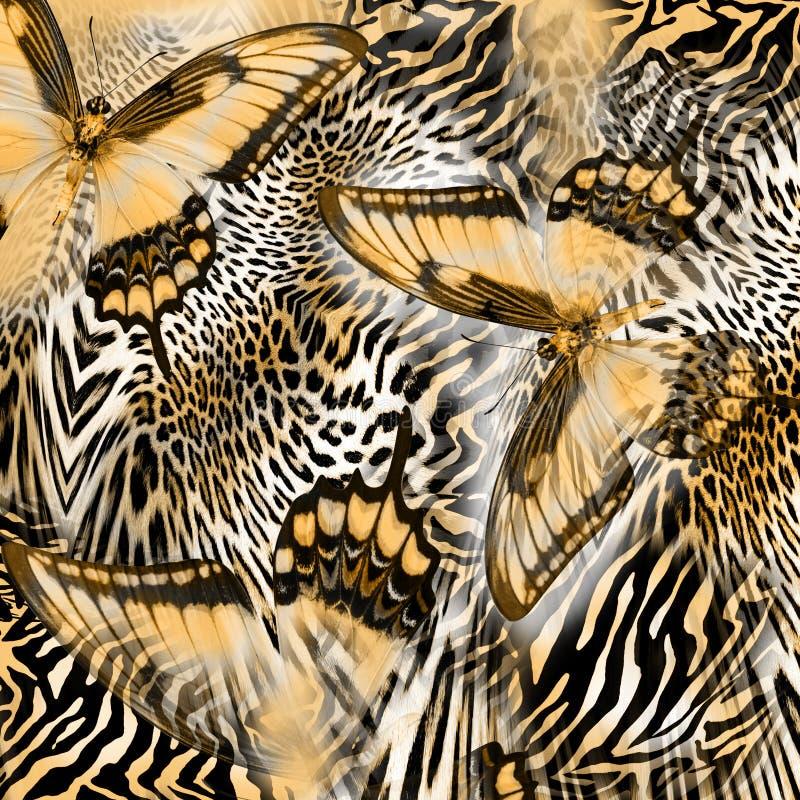 Butterfly leopard skin pattern stock photography