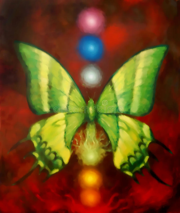 Butterfly with light energetic chakras. Painting and graphic design. Butterfly with light energetic chakras. Painting and graphic design stock illustration