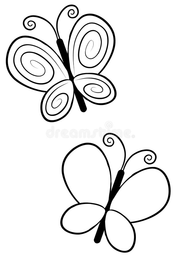 Butterfly Line Art. An illustration featuring your choice of butterfly drawings. Line art (black and white illustrations) are perfect for projects where color is