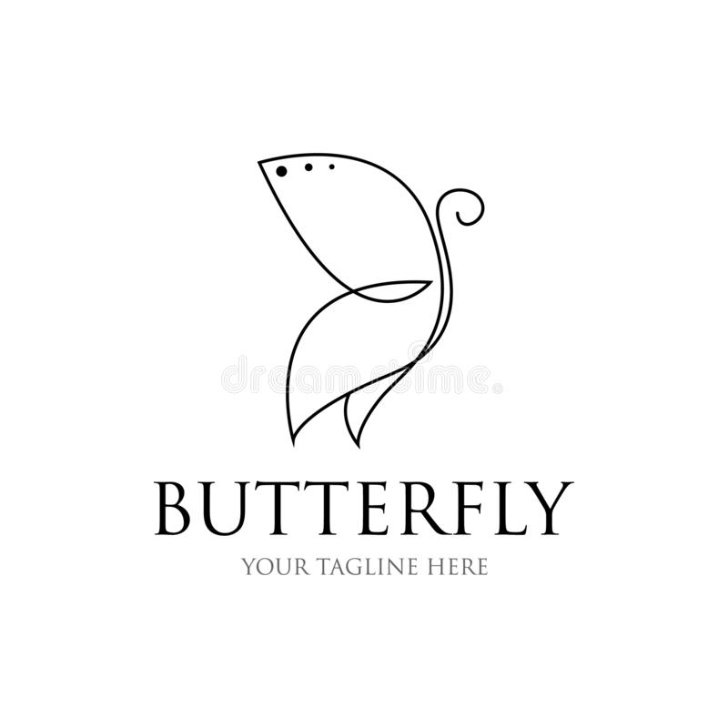 Butterfly line drawing. butterfly icon. vector of butterfly shape lines stock illustration