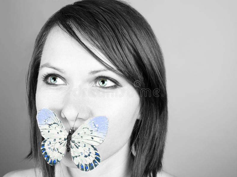 Download Butterfly on lips stock image. Image of female, glamour - 19902689