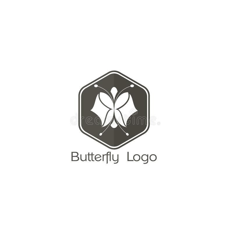 Butterfly logo icon, abstract heart. Butterfly. Logo For Beauty Salon With Colorful Butterfly And Text Butterfly royalty free illustration