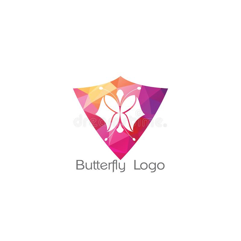 Butterfly logo icon, abstract heart. Butterfly. Logo For Beauty Salon With Colorful Butterfly And Text Butterfly stock illustration