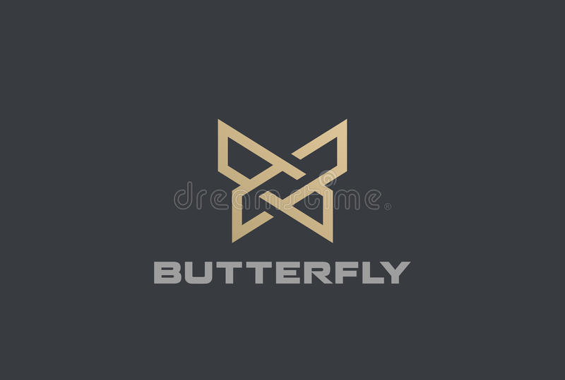 Butterfly Logo geometric design abstract vector template Linear style icon. stock illustration