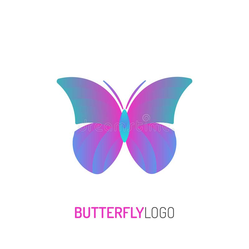 Butterfly Logo | with golden ratio technique and gradient color royalty free illustration
