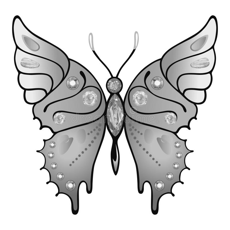 Butterfly logo. Butterfly grey colored gem rhinestones isolated on white background, vector illustration stock illustration