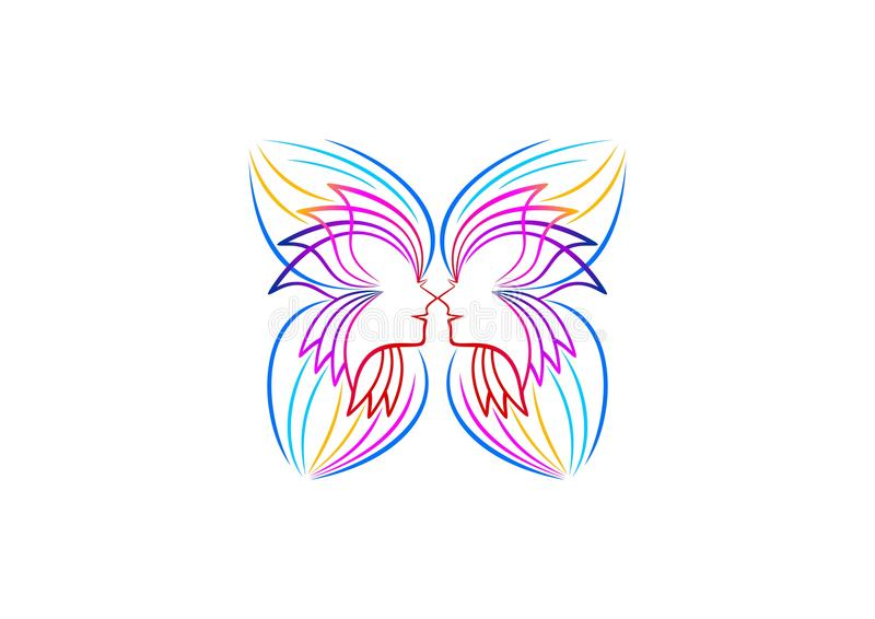 Butterfly logo, relax, woman icon, spa symbol, yoga, cosmetic, massage, beauty wellness concept design. Butterfly logo, relax, woman icon, spa symbol, yoga vector illustration