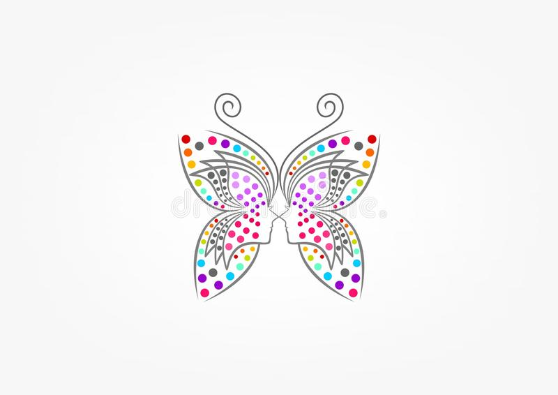 Butterfly logo, spa, fashion, beauty woman, massage, relax, cosmetic, and healthcare concept design. In grey background royalty free illustration