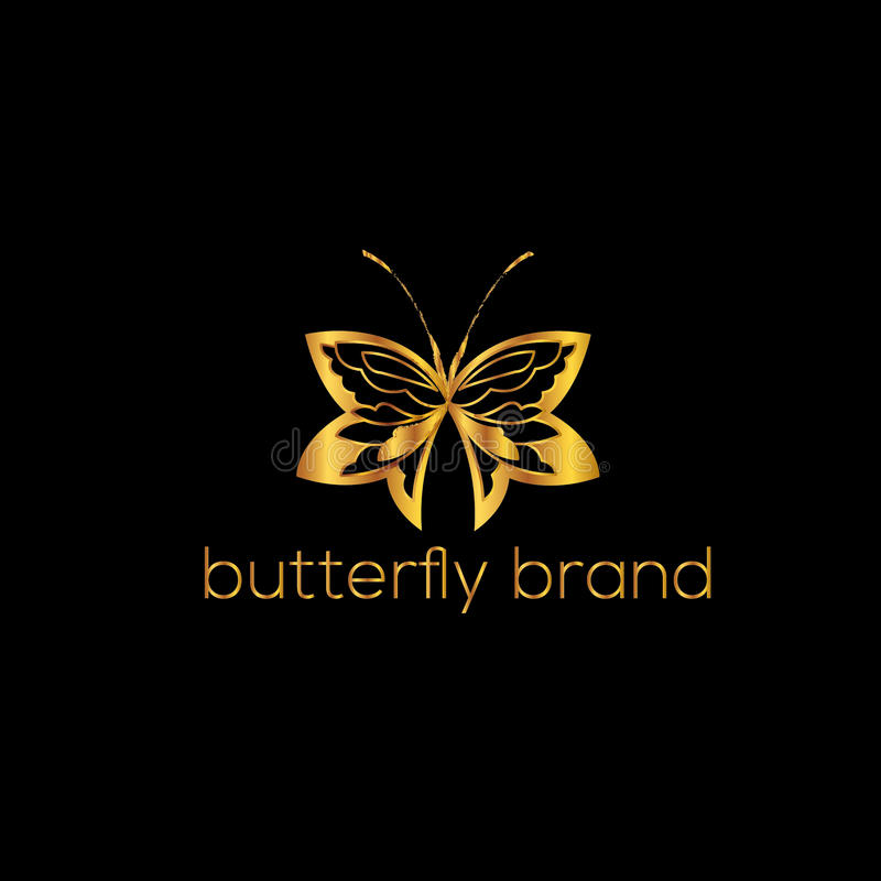 Butterfly logo template. Vector illustration. Butterfly golden logo template. Vector illustration. Fashion design element royalty free illustration