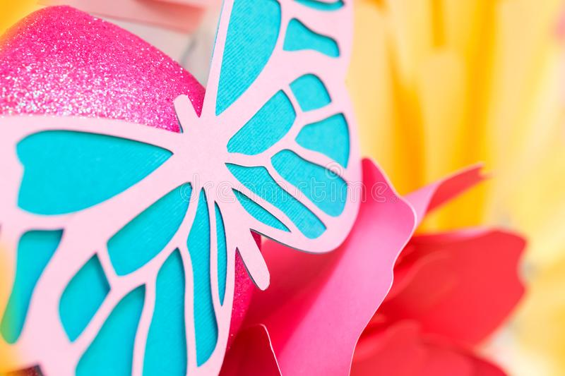 Butterfly made out of cut paper. royalty free stock images
