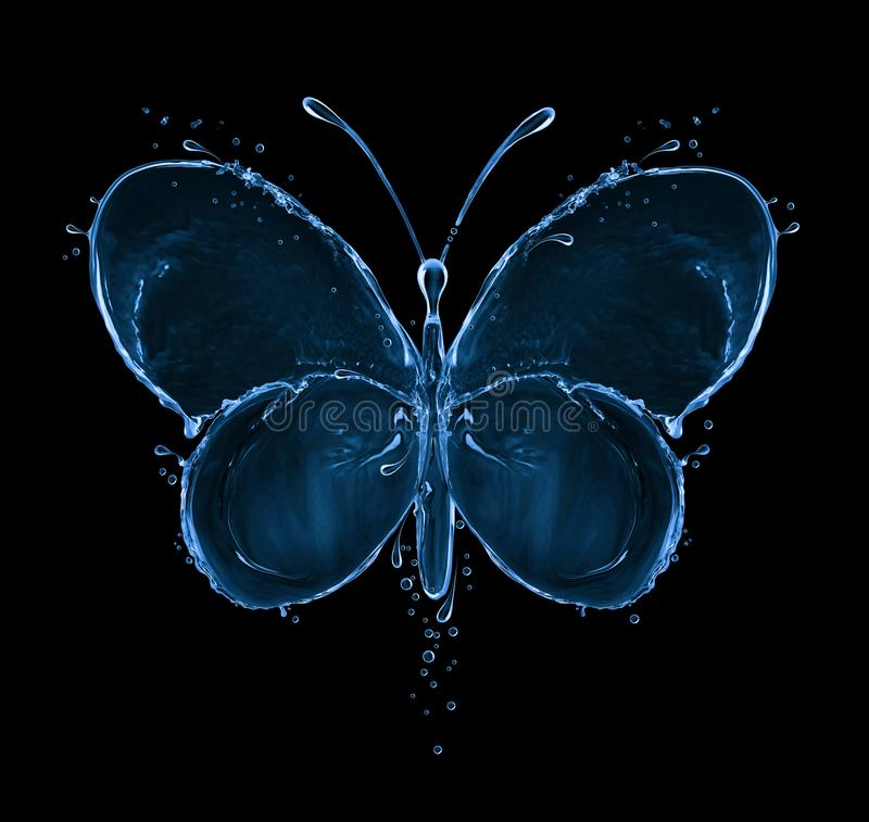 Butterfly made of water splashes on black background stock photography