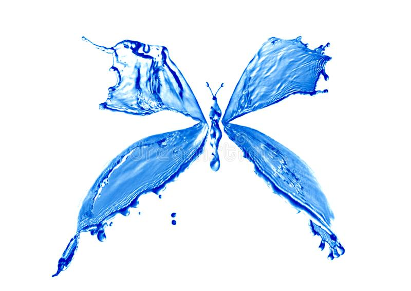 Butterfly made water splashes isolated. stock photo