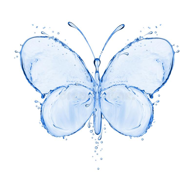 Butterfly made of water splashes isolated on white background stock photo