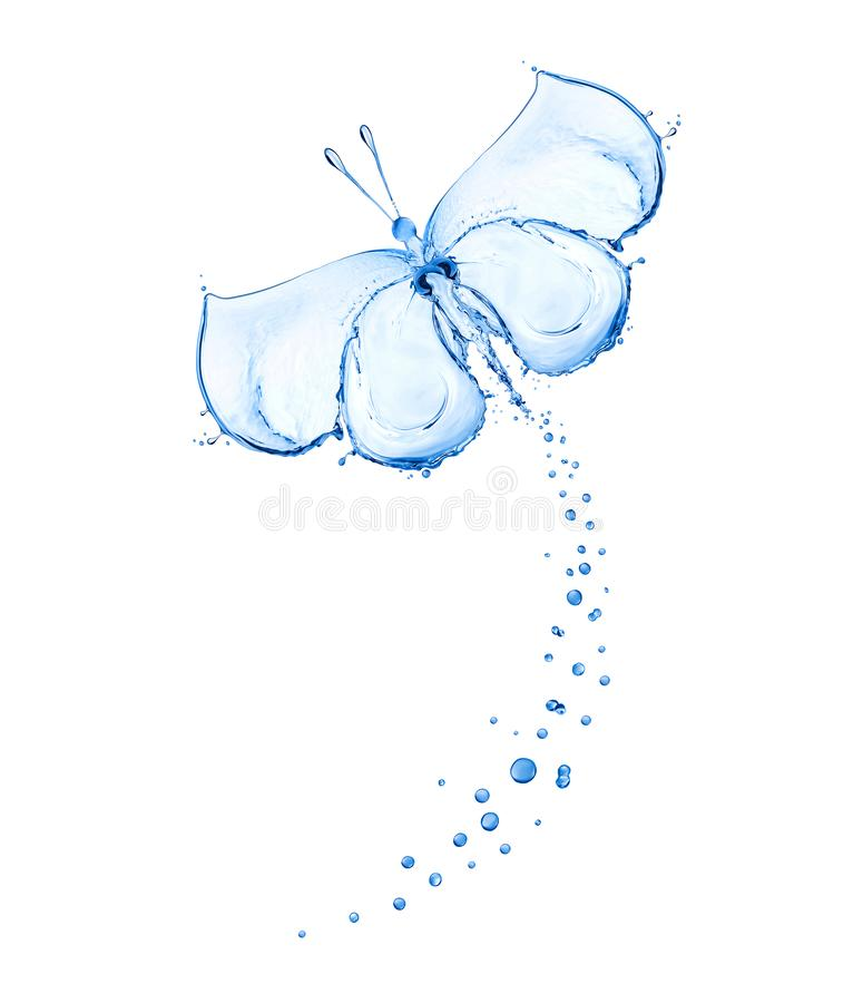 Butterfly made of water spray isolated on white background stock illustration