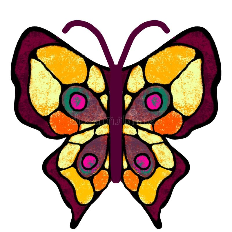 Butterfly. The multi-colored, painted butterfly. Insect illustration royalty free illustration