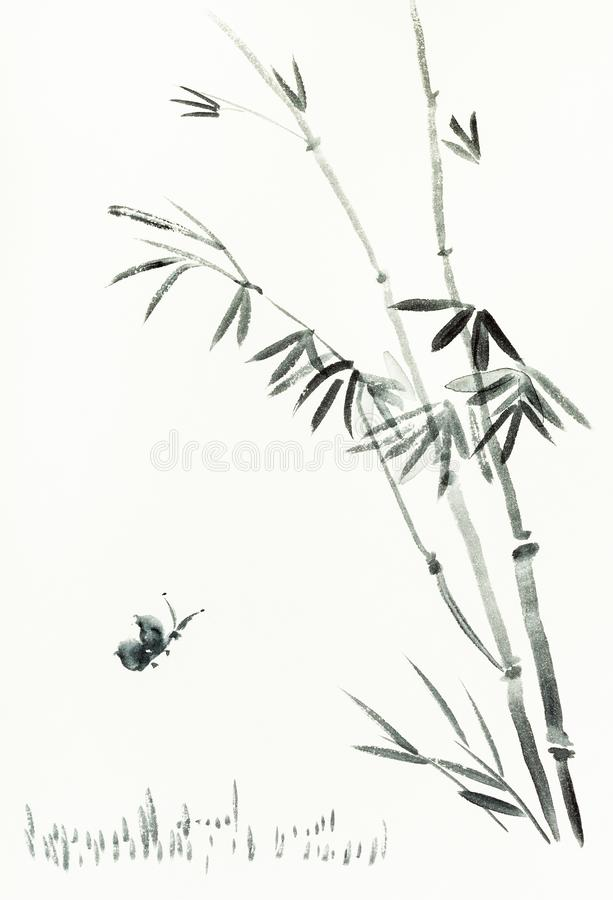 Butterfly near bamboo bush is hand drawn on paper. Training drawing in sumi-e suibokuga style with watercolor paints - butterfly near bamboo bush is hand drawn royalty free illustration