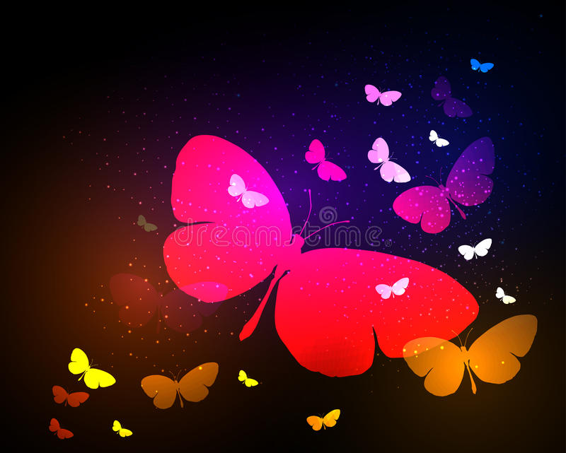 Butterfly neon light background royalty free illustration
