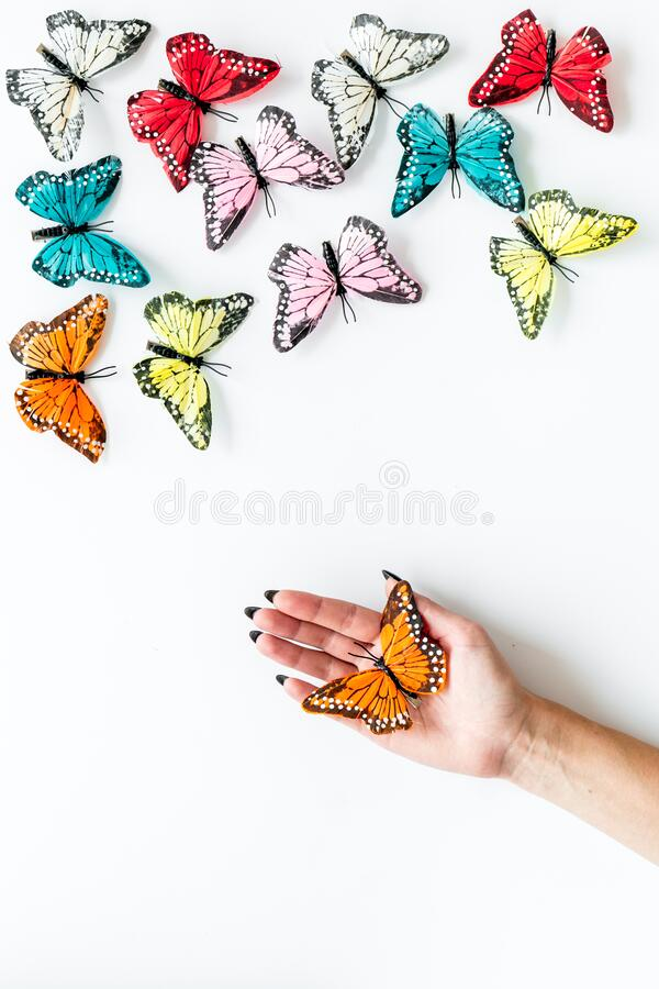 Free Butterfly On Women Hand Near Set Of Multicolored Butterflies On White Background Top-down Royalty Free Stock Images - 169141859