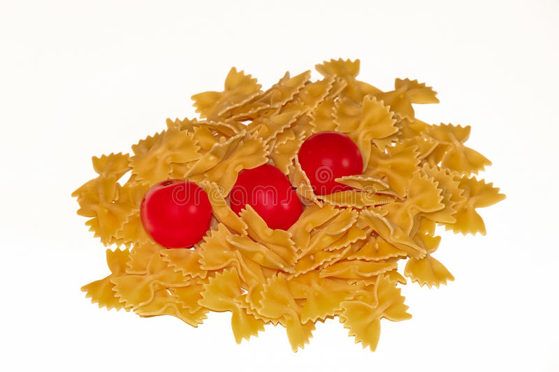 Butterfly pasta and pachino stock images