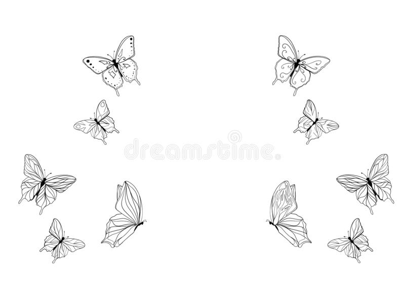 Butterfly Pattern White Background Illustration Stock Illustration Illustration Of White Circle 162041826