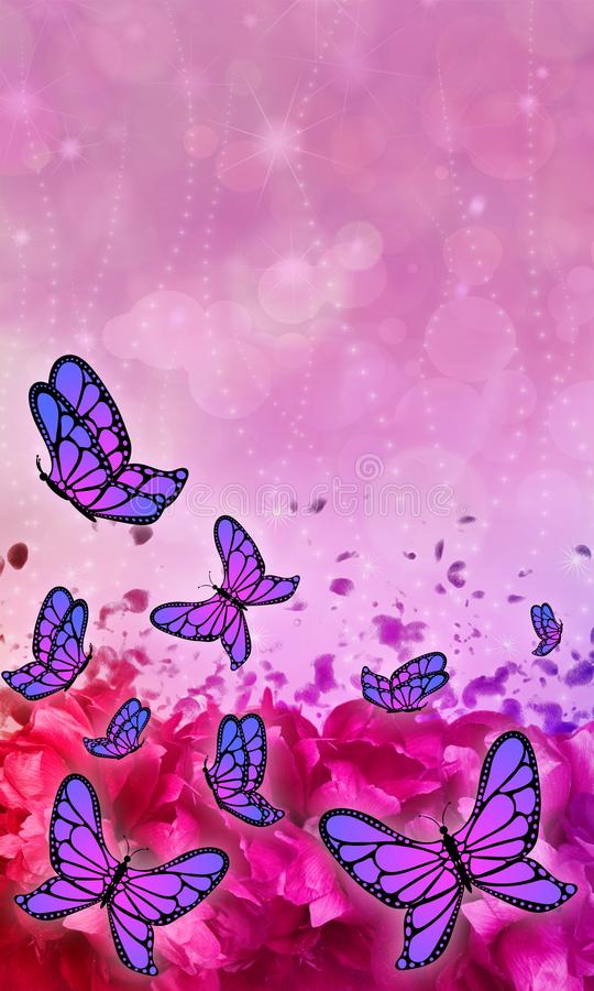 Butterfly patterned beautiful abstract mobile phone wallpaper. stock images