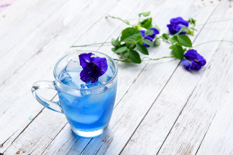 Butterfly pea juice with ice stock image