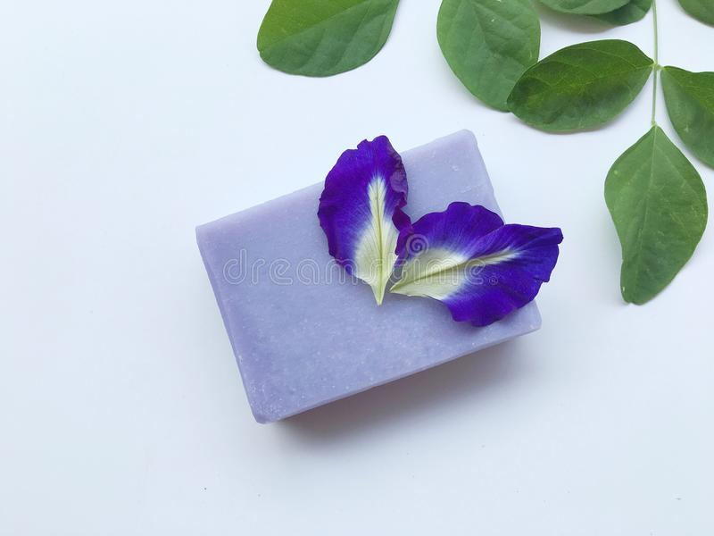 Butterfly pea natural oil soap. royalty free stock images