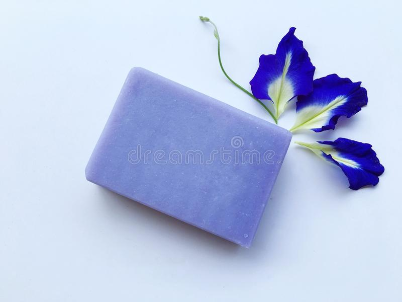 Butterfly pea natural oil soap. stock images