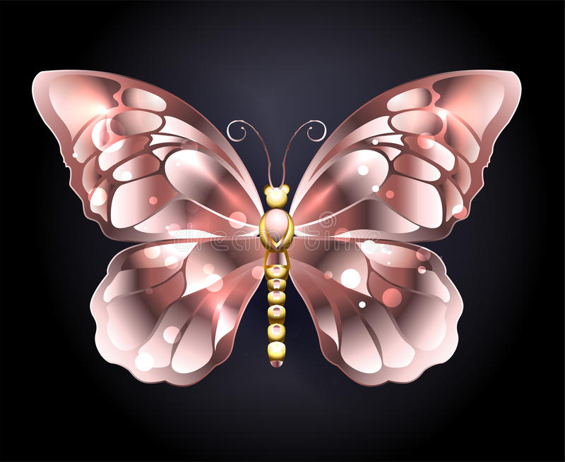 Butterfly in pink gold. Jewelry butterfly in pink gold on a black background. Pink gold. Golden Butterfly vector illustration